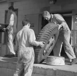 Logging, 1969; two men lifting a large tire