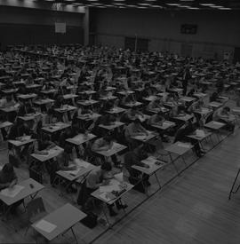 BCIT exams in gym, 1972 [1 of 2]