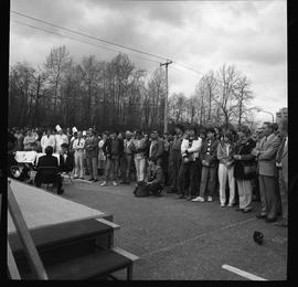 Merger of BCIT and PVI celebrations April 1986; audience viewed from side of stage