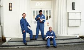 Aviation, students in uniforms holding books while standing outside a BCIT building [5 of 10 phot...