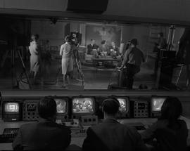 BCIT Broadcast and Television, 1966; view of a television set from the control room