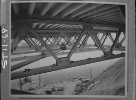 Structural steel; structural steel beams under a bridge