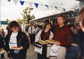 Jackie Azar - people waiting in line for food at the 1994 BCIT Open House