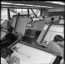 BC Vocational School drafting course ; a classroom of students working on drafting diagrams [4 of 4]