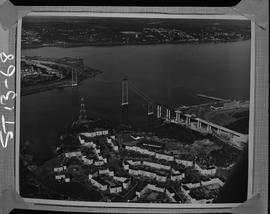 Structural steel; aerial photograph of A. Murray Mackay bridge connecting Halifax and Dartmouth