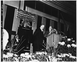 BCIT Official Opening October 5, 1964 Premier W.A.C. Bennett on podium