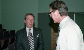 Venture students meet Tony Parsons, April 1995 [8 of 12 photographs]