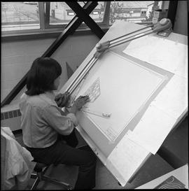 BC Vocational School drafting course ; drafting student drawing a diagram [9 of 11]