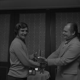 Hockey presentation, Plaza 500, 1972; player receiving an award [4 of 4]
