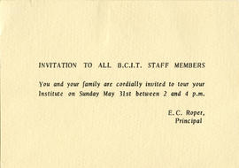 Invitation to all BCIT staff members to a tour of the Institute, Sunday May 31, 1964