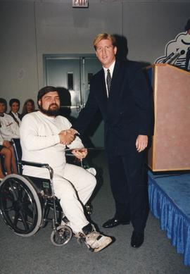 BCIT Alumni Entrance Award, October 19, 1994; Michael Johnson, presented by Mr. Bill MacPherson, ...