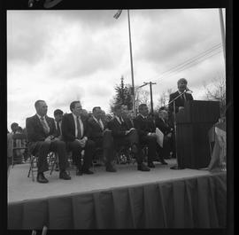 Merger of BCIT and PVI celebrations April 1986; people on outdoor stage [3 of 6 photographs]