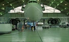 Front view of an airplane inside a hangar [2 of 4 photographs]