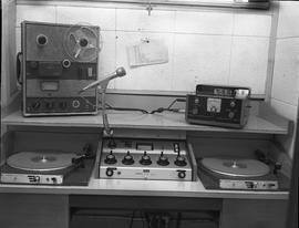 British Columbia Institute of Technology Broadcasting ; 1960s ; audio recorder,  turntable set up...