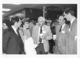 BCIT Alumni Association AGM 1988; Gordon Thom, BCIT President (centre) with four others