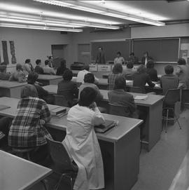 BCIT Programs Forestry Technology ; lecture panel of instructors and students ; E. Matheson speaking