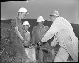 Logging, 1967; a man putting a large nail through a metal cable ; three men watching