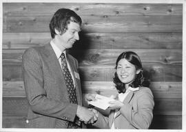 Alumni Awards, 1979, event photograph; recipient Ellen Nakashima, award presented by Keith Hartle...