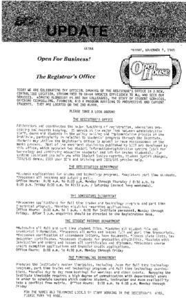 BCIT Update 1986-11-07; The President Speaks Out...and The Registrar's Office open house