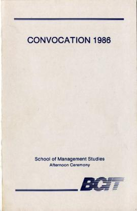 Convocation 1986; School of Management Studies, afternoon ceremony; June 12, 1986, program