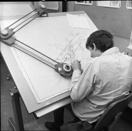 BC Vocational School drafting course ; drafting student drawing a diagram [2 of 11]