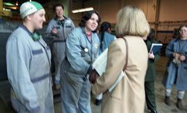 BCIT women in trades; steel fabrication, BCIT staff members and VIPs talking shaking hands with s...