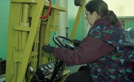 BCIT women in trades; forklift training, students driving a forklift [11 of 15 photographs]