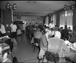 BC Vocational School Food Training Centre ; patrons eating in the dining hall ; Hotel-Motel stude...
