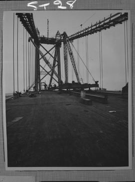 Structural steel; A. Murray Mackay bridge connecting Halifax and Dartmouth under construction (vi...