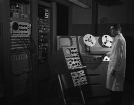 BCIT Broadcast and Television, 1966; man using audio/video editing equipment [2 of 2]
