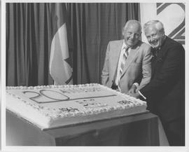 British Columbia Institute of Technology - Twenty Year Celebration, September 1984 - cake cutting...