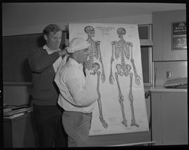 Industrial First Aid, Nanaimo; man wrapping another man's head with a bandage ; anatomical chart ...