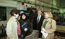 BCIT women in trades; steel fabrication, BCIT staff members and VIPs talking inside a shop [3 of ...