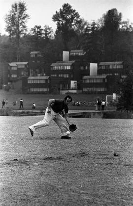 BCIT image of a fielder in a staff softball game. BCIT Recreation [2 of 2 photographs]
