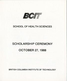 BCIT School of Health Sciences, Scholarship ceremony; October 27, 1988, program