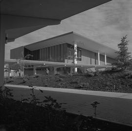 Terrace campus, BCVS, 1971; sidewalk, gardens, people walking under covered walkway, building