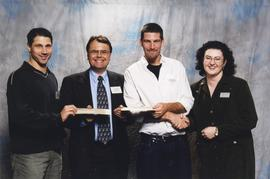 BCIT Alumni Association Award, Nov. 7, 2001; presenters Brian Brooke and Sherri Magson with recip...