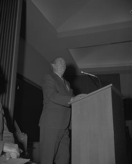 Student Scholarship Awards, BCIT, 1969 [12]; man standing at a podium with a microphone
