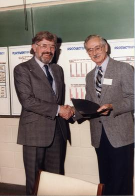 BCIT Board Chairman 1984-1974; left Malcolm J. Wickson (current Chairman); right Dr. Ralph Patter...