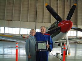 Irma and Dave Mitchell (aerospace Associate Dean) with Dave's BCIT Distinguished Service Award 2002
