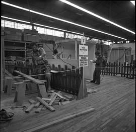 Carpentry apprenticeship contest, Burnaby campus, 1978 ; apprentices working on various projects