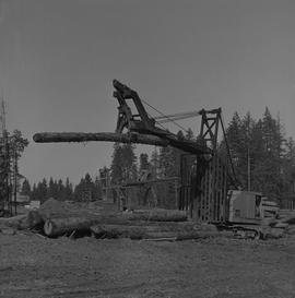 Logging Loading, Nanaimo, 1968; Cypress log lifter moving a log