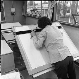 BC Vocational School drafting course ; drafting student drawing a diagram [5 of 11]