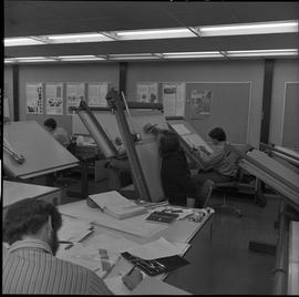 BC Vocational School drafting course ; a classroom of students working on drafting diagrams [3 of 4]