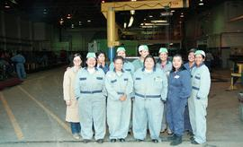 Pre-trade Aboriginal women; welding, group shot of students wearing uniforms [1 of 8 photographs]