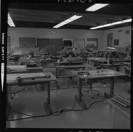 Map drafting, Victoria, 1968; map drafting classroom with students sitting at desks working [1 of 2]