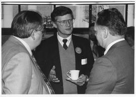 Merger of BCIT and PVI, fall of 1985, event photos; Jack Heinrich, Minister of Education (centre)