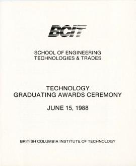 BCIT School of Engineering, Technologies, and Trades, Graduating awards ceremony; June 15, 1988, ...