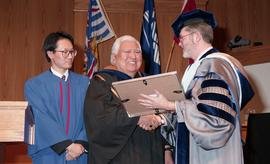 Robert (Bob) George receiving an Honorary Doctorate of Technology; Elder Advisor, BCIT [5 of 19 p...