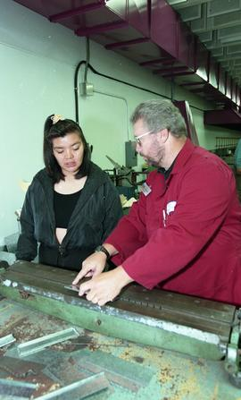 Pre-trade Aboriginal women; sheet metal, students and instructor in class [9 of 12 photographs]